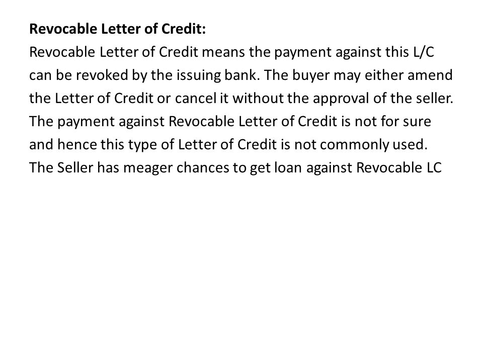 unit ppt video online download With loan against letter of credit
