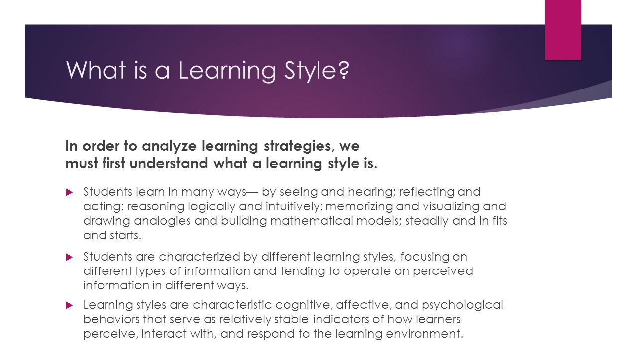 explain cognitive style in adult learning
