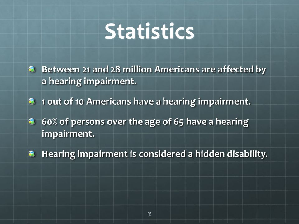 disability of hearing loss that many americans have The demographics or statistics of hearing loss how many people are deaf or hard of hearing hearing loss - demographics - deafness statistics the census bureau offers demographical statistics on disability and employment.