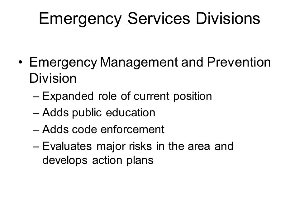 Emergency Services Divisions