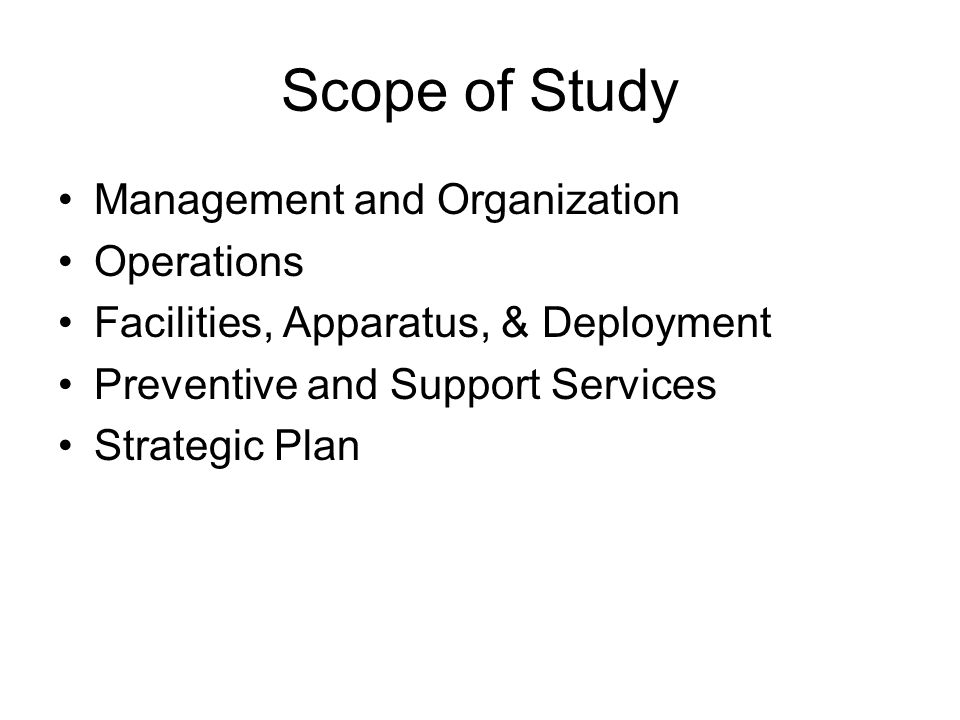 Scope of Study Management and Organization Operations