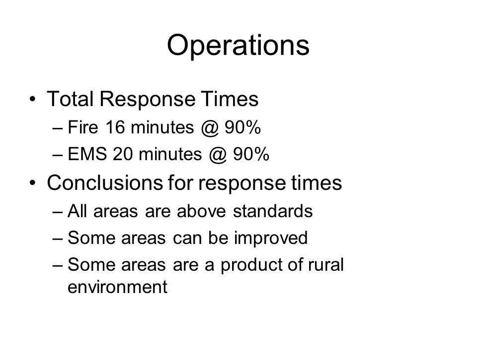 Operations Total Response Times Conclusions for response times