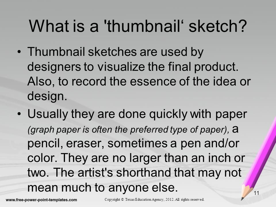 What is a thumbnail' sketch