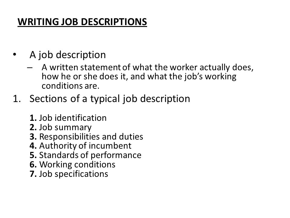WRITING JOB DESCRIPTIONS  Writing A Job Summary