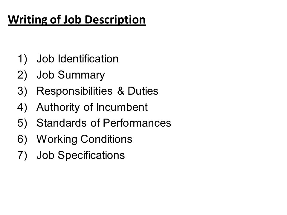 Writing Of Job Description  Writing A Job Summary