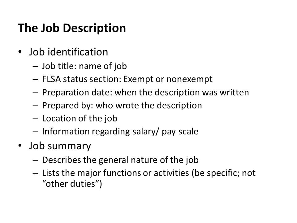 Delightful The Job Description Job Identification Job Summary Idea Job Summaries