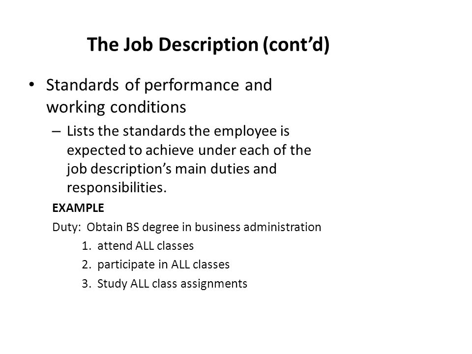 the job description contd