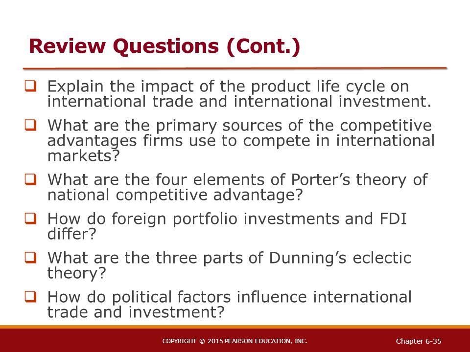 the theory of trade and investment The explanation of international trade and investment under explain intra-national trade and investment to extend the theory of specialization and the division of labour into an international ex-planation of foreign trade is to make comparative advantage a.