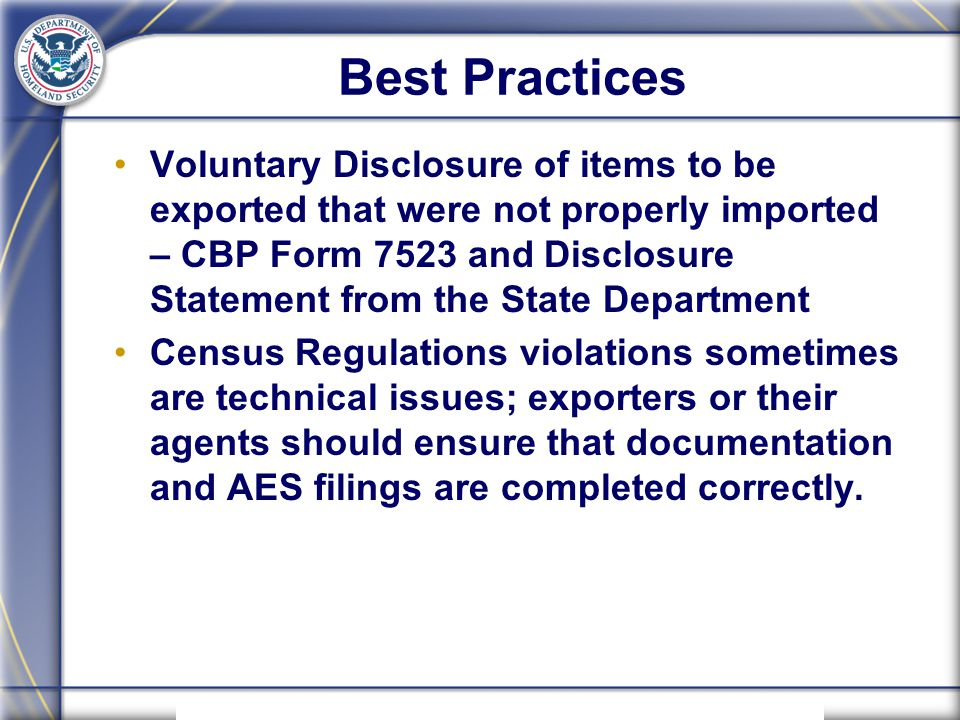 Us Customs And Border Protection Cbp Outbound Issues Webinar