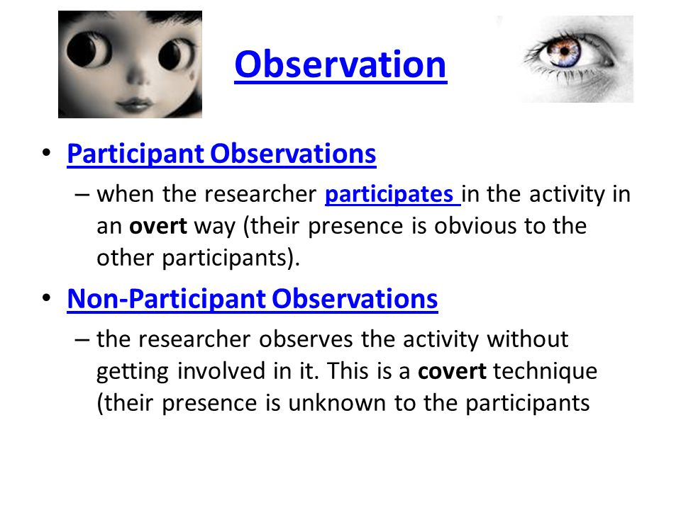 participant observation and covert research Ethnography and participant observation, ethnography, gaining access, research site, covert research, doing fieldwork, sampling, take fieldnotes, leaving the research setting, bryman are some points of this lecture.