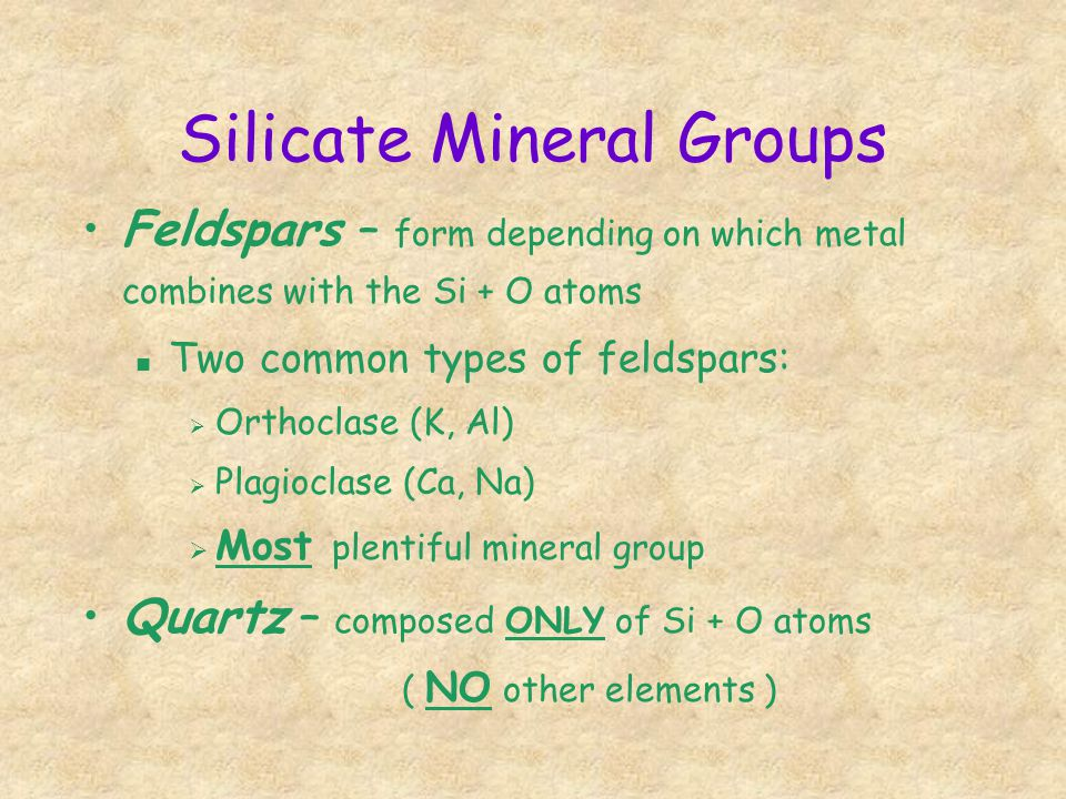 Silicate Mineral Groups
