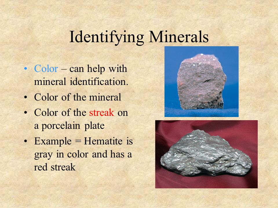 Identifying Minerals Color – can help with mineral identification.