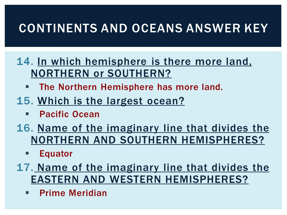 Continents & Oceans. - ppt download