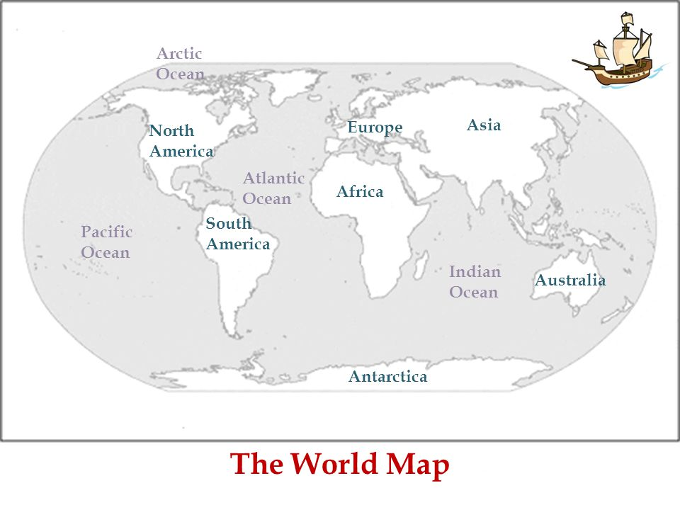 Continents and oceans by scott hudson ppt video online download the world map arctic ocean europe asia north america atlantic ocean gumiabroncs Choice Image