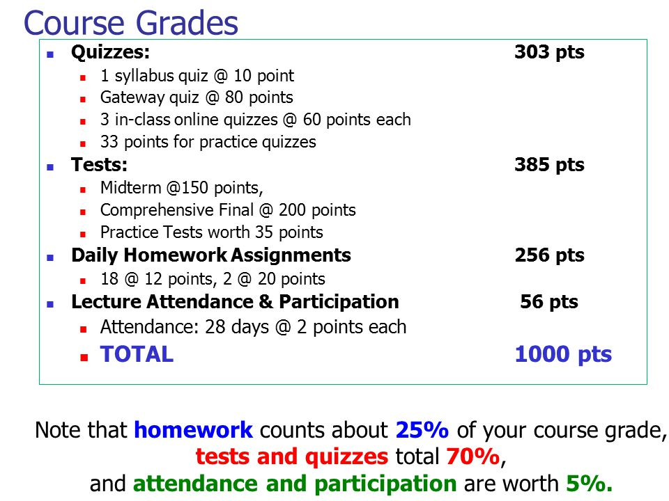 Course Grades TOTAL 1000 pts