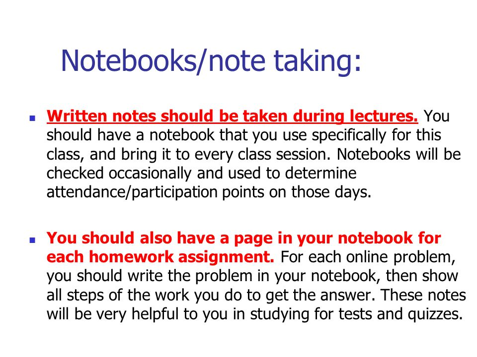 Notebooks/note taking: