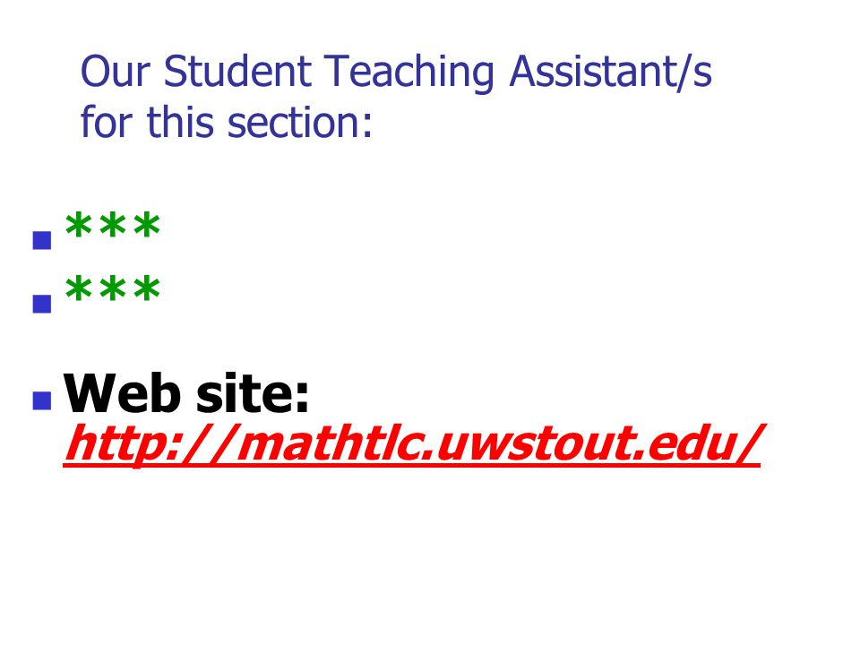 Our Student Teaching Assistant/s for this section: