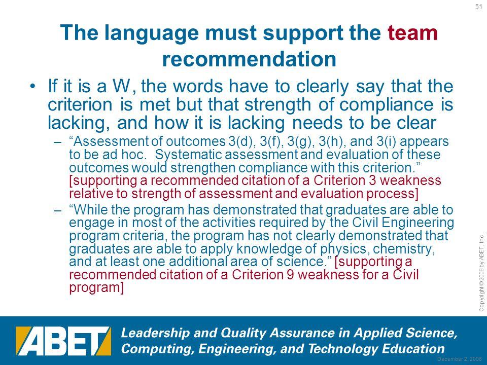 Team Recommendation: ABET Program Evaluator Re-Training