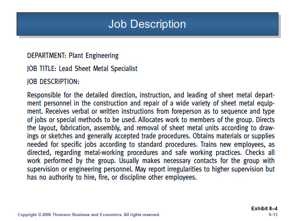 Job Description Exhibit 8–4