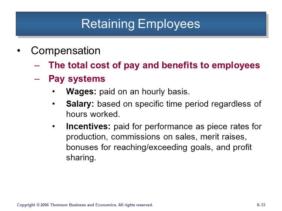 Retaining Employees Compensation