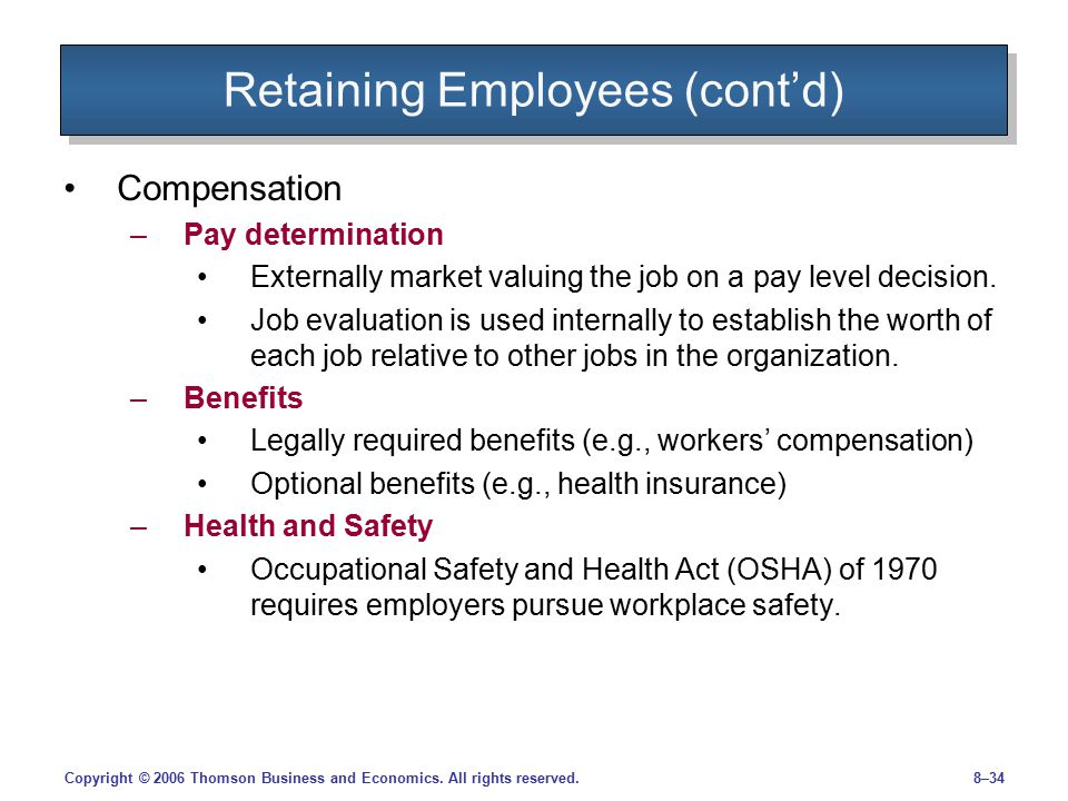 Retaining Employees (cont'd)