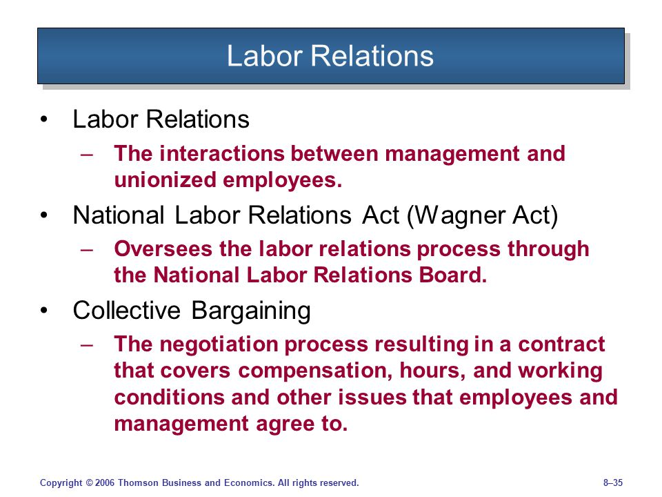 an analysis of the process of labor management bargaining Paid to the majority union95 the court analyzed the case in light of  lective  bargaining process in which both labor and management.