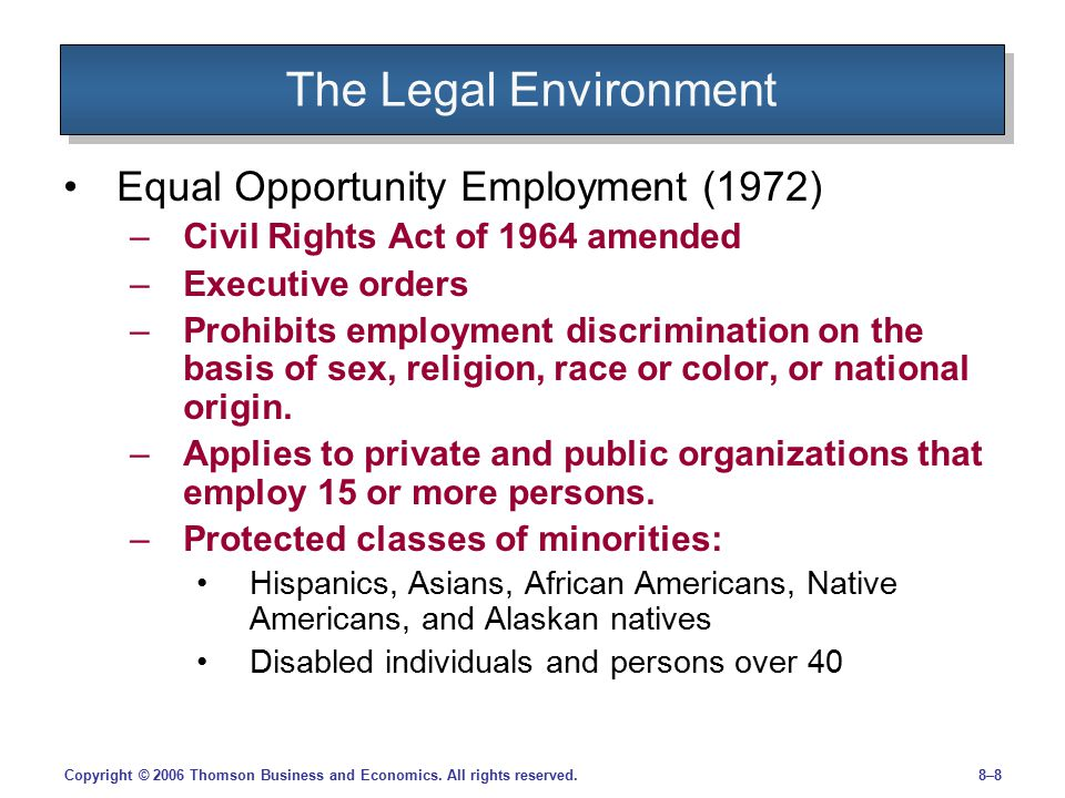 The Legal Environment Equal Opportunity Employment (1972)