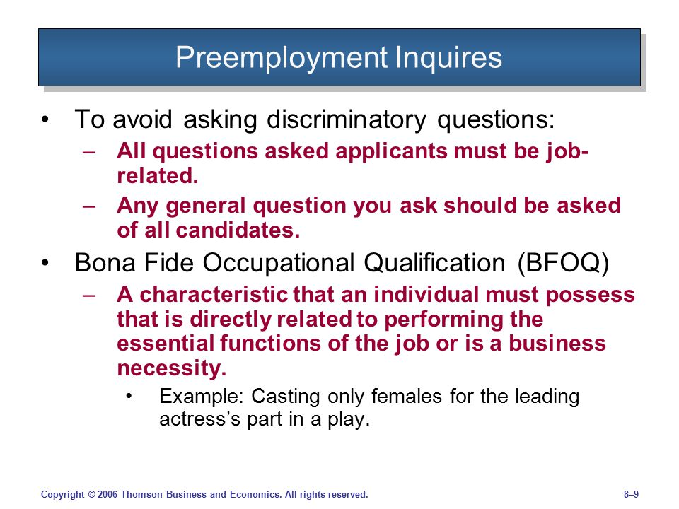 Preemployment Inquires