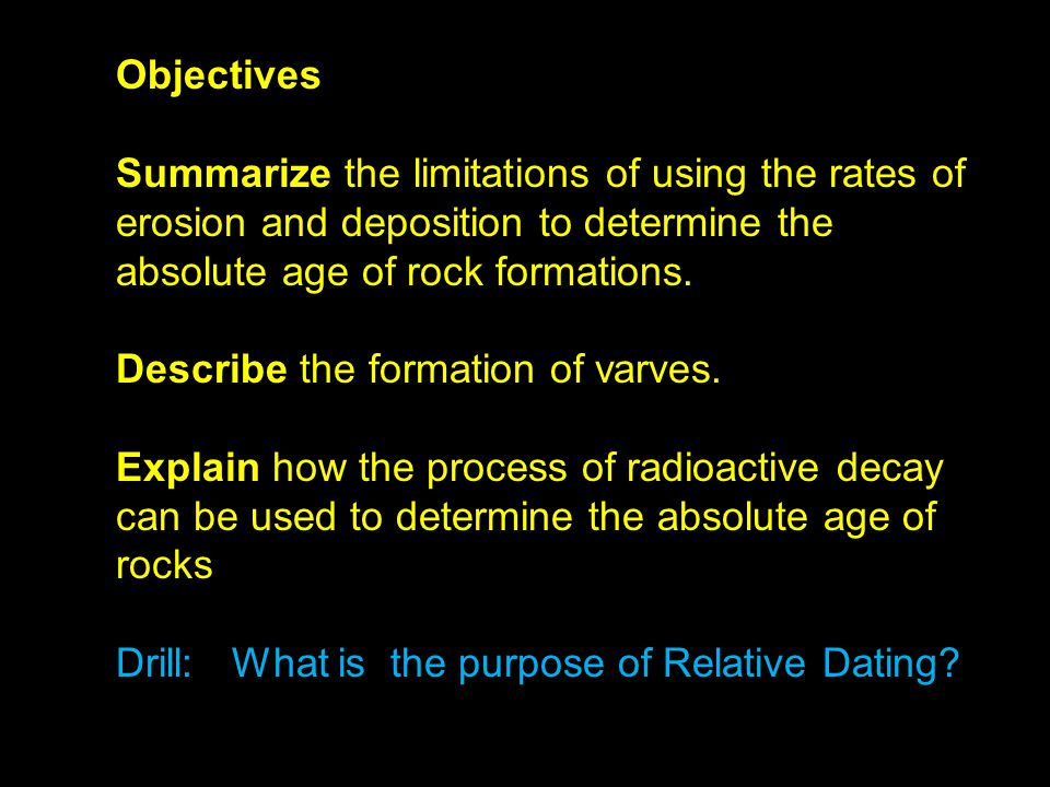 what is the process of relative dating Age dating the earth measure a process rate within the relative dating is a technique that uses the relative positions of layers and fossils to assign.