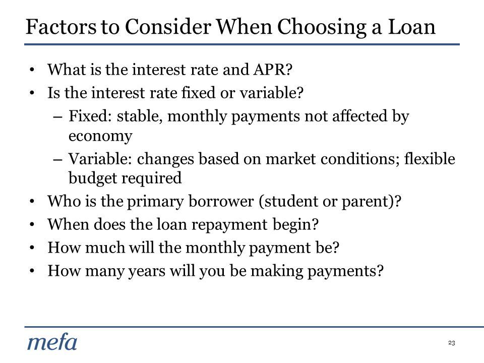 Factors to Consider When Choosing a Loan