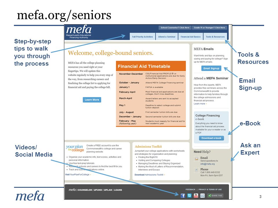 mefa.org/seniors Step-by-step tips to walk you through the process