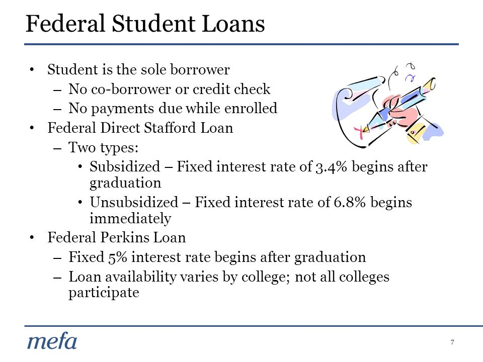 Federal Student Loans Student is the sole borrower