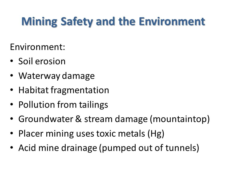 Subsurface Mining Disadvantages Subsurface Mining