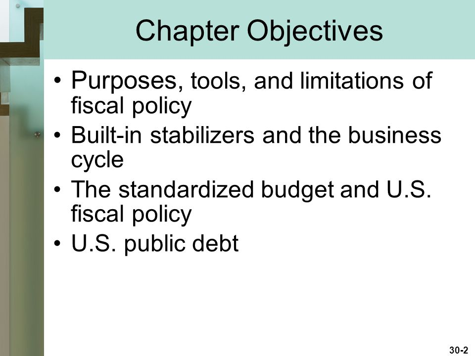 Chapter Objectives Purposes, tools, and limitations of fiscal policy