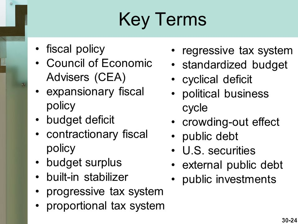 Key Terms fiscal policy regressive tax system