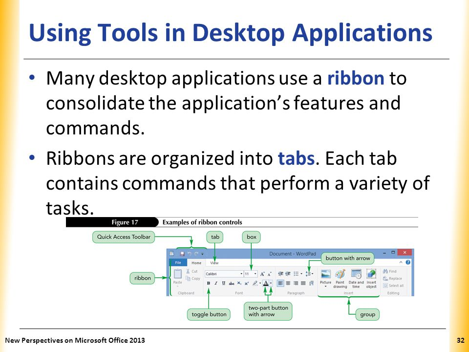 Using Tools in Desktop Applications