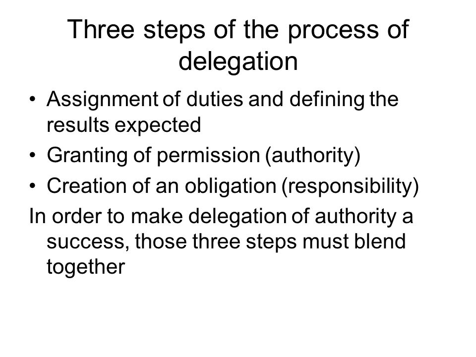 Three steps of the process of delegation