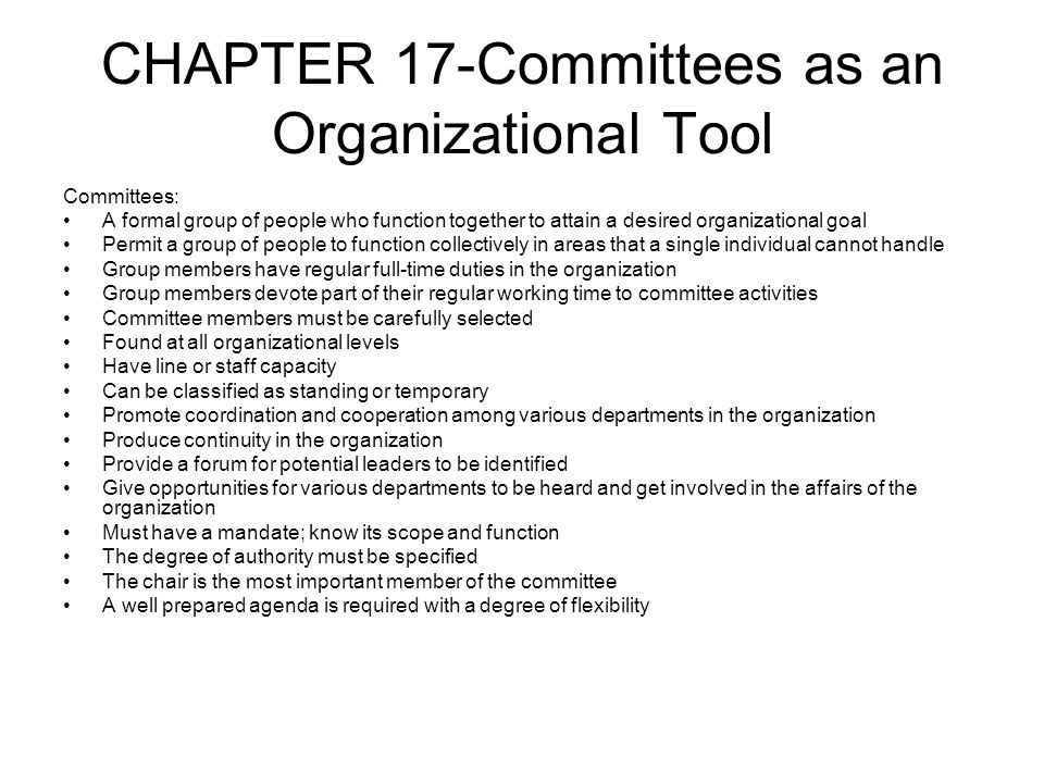 CHAPTER 17-Committees as an Organizational Tool