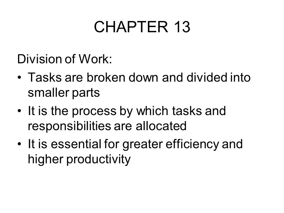 CHAPTER 13 Division of Work: