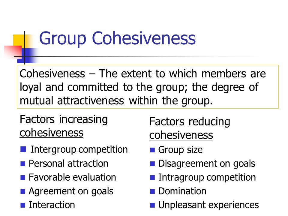 consequences of group cohesiveness Video: group cohesiveness: definition, factors, importance & consequences in this lesson, you'll learn about group cohesiveness, why it's important, and some consequences of a cohesive or.