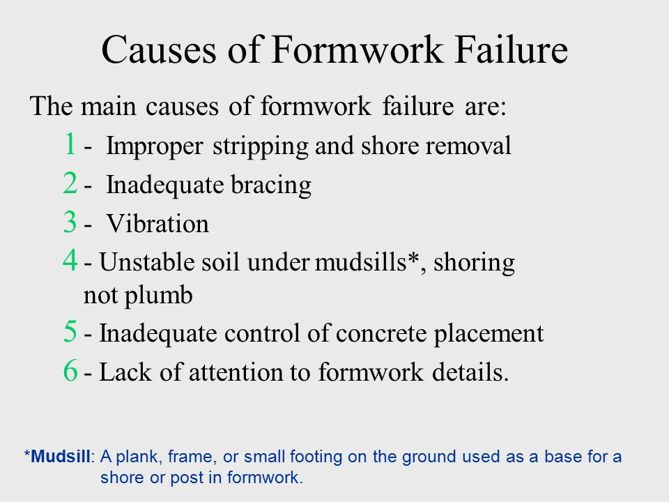 causes of concrete failure There can be so many causes for failure of concrete that it might not be possible to list them all here are some of the major ones: poor quality of raw material ie aggregates, water, cement.