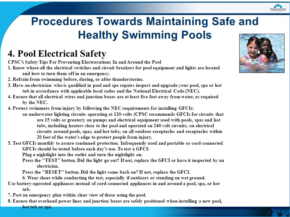 Maintaining safe and healthy swimming pools ppt video - Swimming pool lighting requirements ...