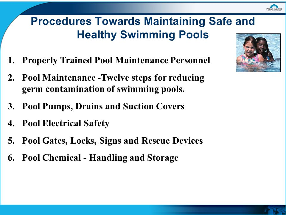Maintaining safe and healthy swimming pools ppt video - Swimming pool cleaning chemicals list ...