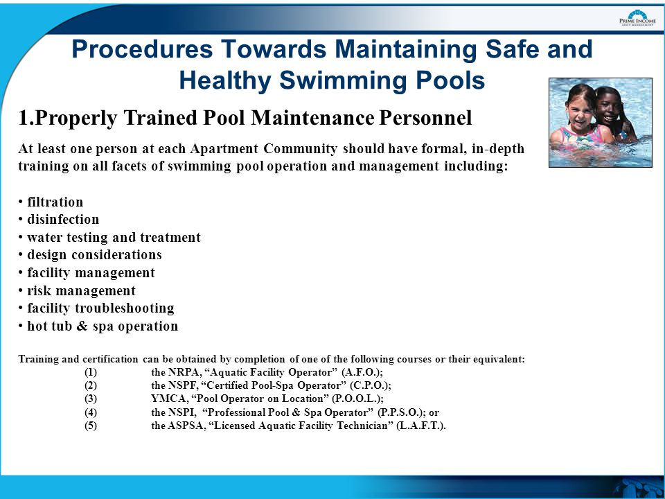 Maintaining Safe And Healthy Swimming Pools Ppt Video Online Download