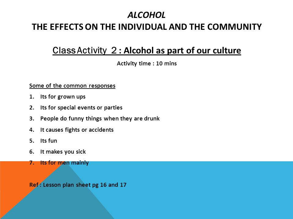 Lesson 2: Alcohol and Your Body