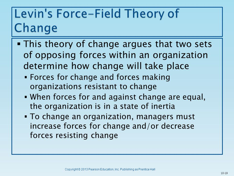 Levin s Force-Field Theory of Change