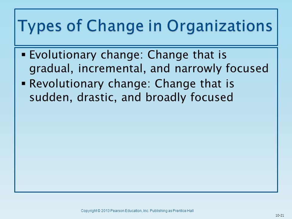 Types of Change in Organizations