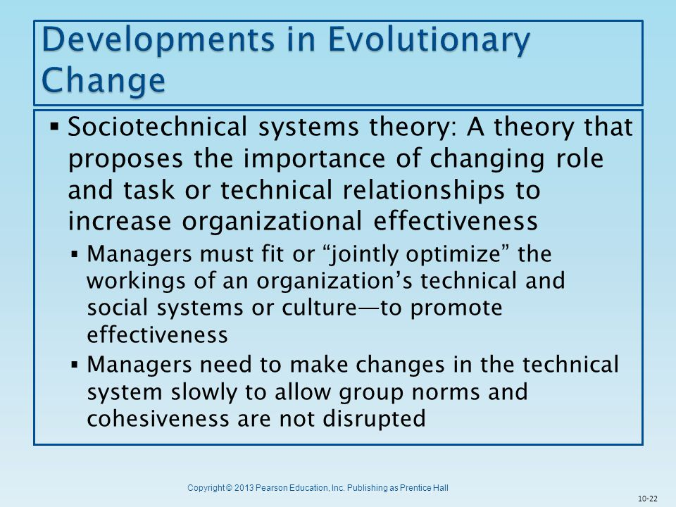 Developments in Evolutionary Change