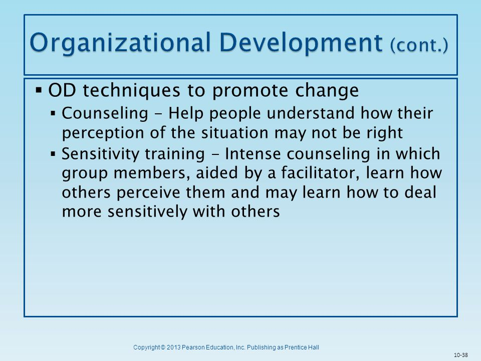 Organizational Development (cont.)