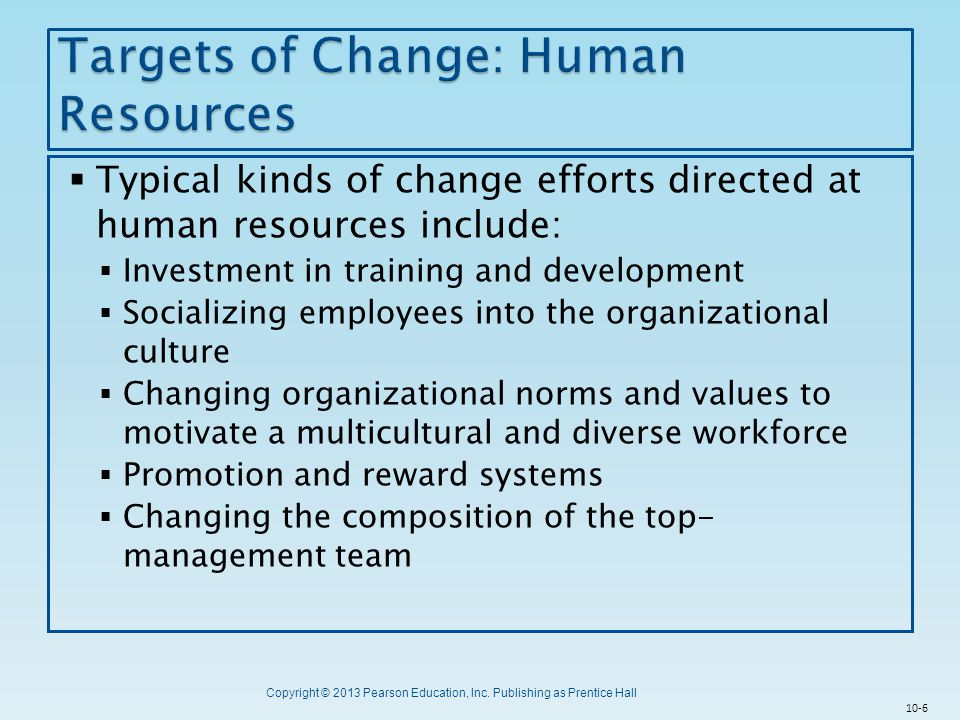 Targets of Change: Human Resources
